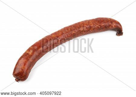Boiled And Smoked Sausage On A White Background. Farm Smoked Sausage
