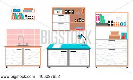 Medical Examination Or Medical Check Up Interior Room, Veterinary Care Flat Design Vector Illustrati