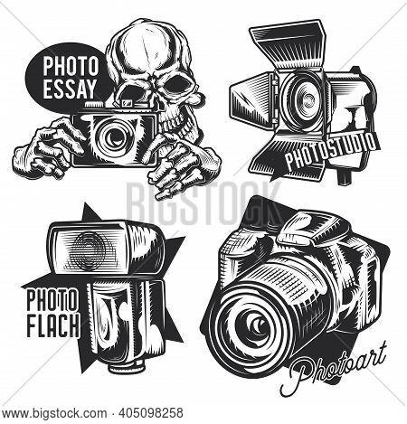 Set Of Photographer Emblems, Labels, Badges, Logos. Isolated On White