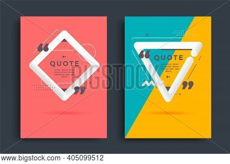 Quotes Poster Templates Design Set With Speech