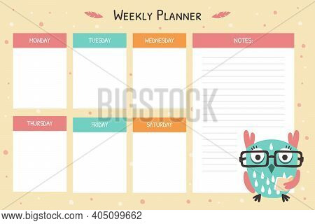 Weekly Planner For Kids Template, Planning Page, Notes, Organizer For Kids With Cute Funny Owl Bird