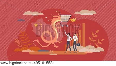 China E-commerce With Web Sales Import And Online Trade Tiny Person Concept