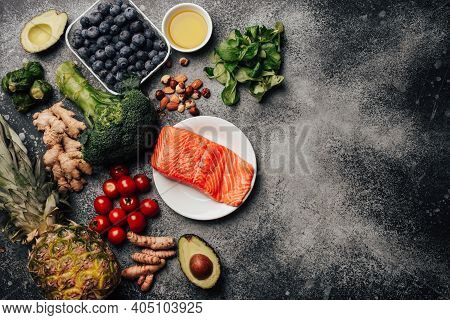 Anti Inflammatory Diet Concept. Set Of Foods That Help To Reduce Inflammation - Plant Based Ingredie