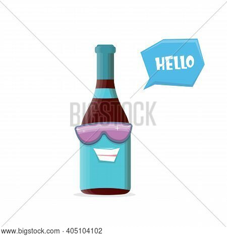 Vector Funny Cartoon Red Wine Bottle Character With Sunglasses Isolated On White Background. Funky S