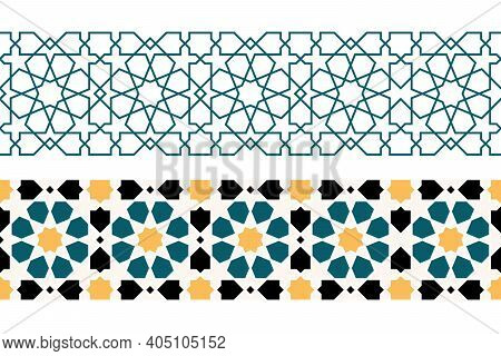 Set Of Geometric Islamic Horizontal Seamless Patterns Or Decoration Greeting Card Or Interior Based