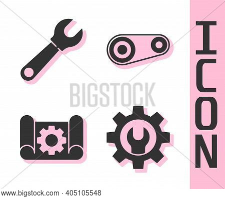 Set Wrench Spanner And Gear, Wrench Spanner, Graphing Paper And Gear And Timing Belt Kit Icon. Vecto