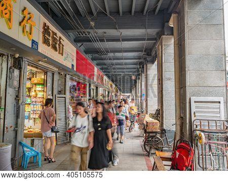 Guangzhou/china-25 Aug 2019:motion Blur Of Unacquainted People Walking On Yide Road Wholesale Marke