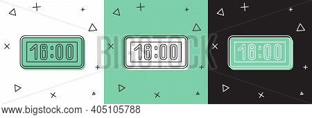 Set Digital Alarm Clock Icon Isolated On White And Green, Black Background. Electronic Watch Alarm C