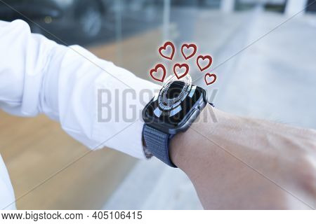 Man Business Smart Watch With Applications Ai For Love Valentine Enjoyment From Smartphone Enjoyment