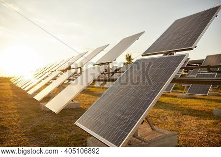 Rows Of Modern Photovoltaic Panels Installed In Field Against Sundown Sky On Solar Power Station