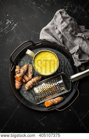 Healthy Warm Beverage For Boosting Immune System, Turmeric Golden Milk. Ingredients For Cooking Deto