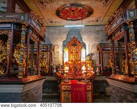 Guangzhou/china-26 Aug 2019:hualin Buddhist Temple On Hualin Jade Street Market In Guangzhou City Ch