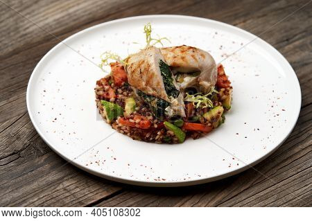 Baked Chicken Breast With Quinoa Rice. Healthy Food