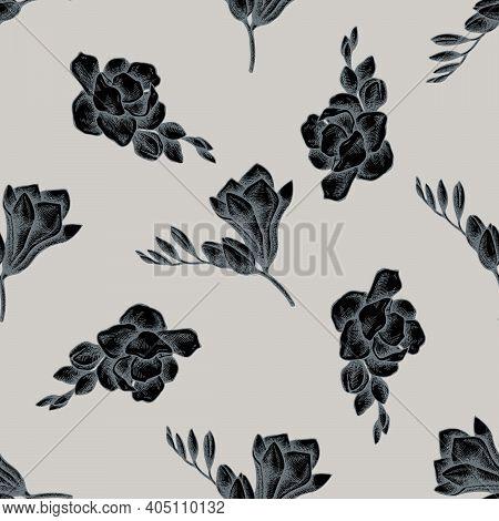 Seamless Pattern With Hand Drawn Stylized Freesia Stock Illustration