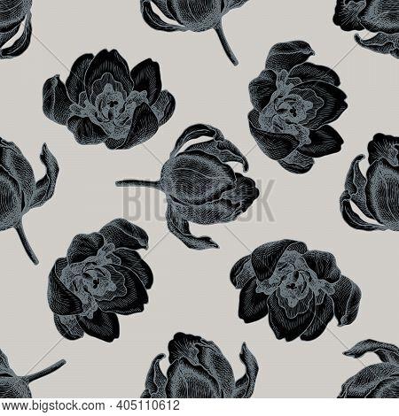 Seamless Pattern With Hand Drawn Stylized Tulip Stock Illustration