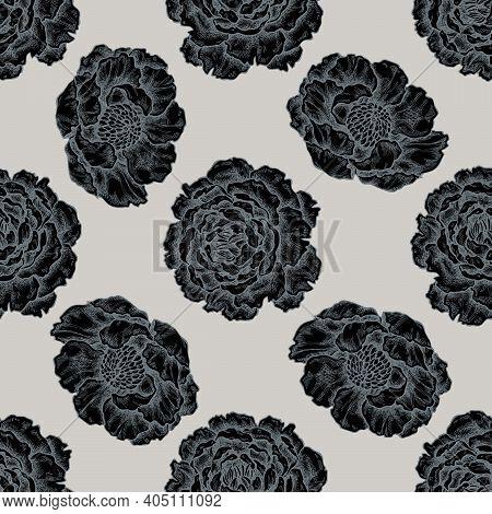 Seamless Pattern With Hand Drawn Stylized Peony Stock Illustration