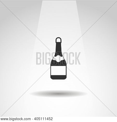 Champagne Vector Icon, Simple Champagne Bottle Icon