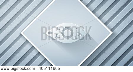 Paper Cut Reddish Eye Due To Viral, Bacterial Or Allergic Conjunctivitis Icon Isolated On Grey Backg