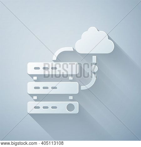 Paper Cut Network Cloud Connection Icon Isolated On Grey Background. Social Technology. Cloud Comput