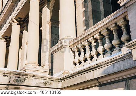 Facade Details, Columns Of Beautiful Old European Stone Building. European Architecture In Renaissan