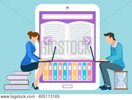 Leaning New Information With Help Of Internet Vector, Isolated People With Laptops And E-book. Educa