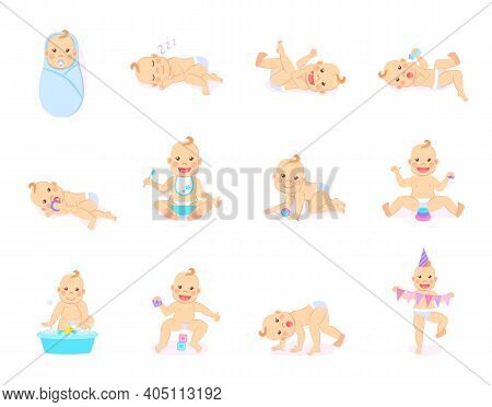 Cartoon Set With Cute Little Babies In Diaper. Happy Toddler Plays With Toy, Birthday Of Baby, Child