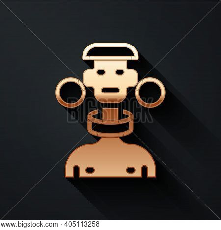 Gold African Tribe Male Icon Isolated On Black Background. Long Shadow Style. Vector