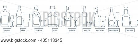 Bottle And Glass Vodka Red Wine Champagne Whiskey Liquor Beer Tequila Rum Martini Line Art In Flat S
