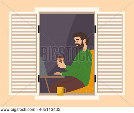 Guy Working With The Computer And Drinking Coffee On Balcony Of His House. Man On Freelance Looks Ou
