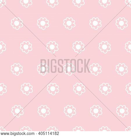 Cute Repeat Daisy Wildflower Pattern With Light Pink Background. Seamless Floral Pattern. White Dais