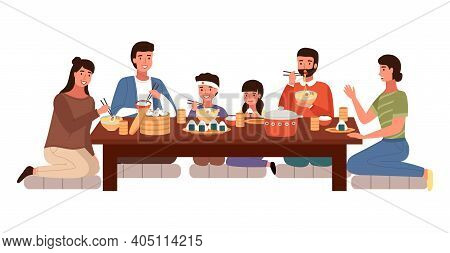 Relatives Eating Japanese Food. People In National Oriental Costumes Isolated On White Background. D
