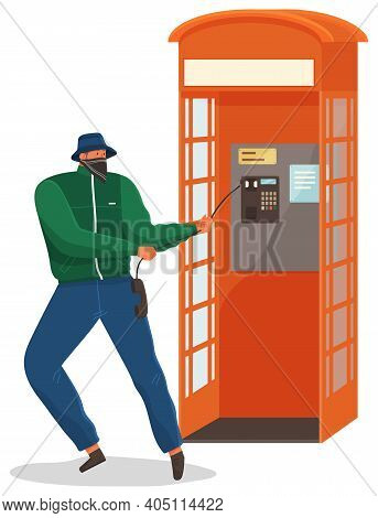 Vandal Damaging The Telephone Booth Isolated On White. Bandit In Mask And Hat Destroy City Property.