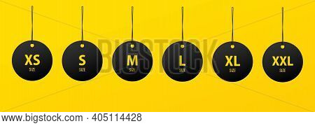 Clothing Size Label Icon In Black. Small, Large And Extra Large Sizes. Xs, S, M, L, Xl, Xxl Tags. Ve