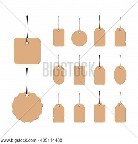 Clothing Size Label Icon In Black. Small, Large And Extra Large Sizes. Blank Tags. Isolated On White