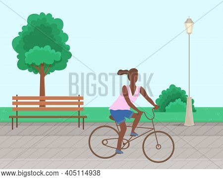 A Woman Riding A Bike In A Park In The City Vector Illustration. Afro American Girl Doing Sports Out