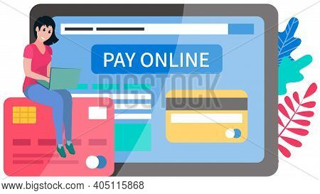 A Woman Buys On Online Commerce. E-commerce. Online Business Illustration With Buyer Pays Online. Sm