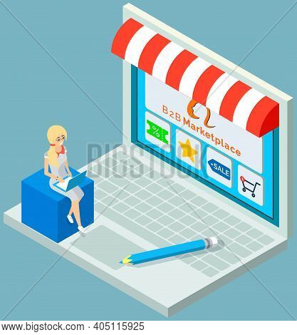 Online Store Concept. B2b Joint Work Of Companies, Big Business. Female Buyer Selects Product On Sto