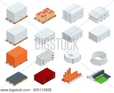 Isometric Building Products Icons. Ferro-concrete Items, Concrete Elements, Pipes, Iron Roof, Cement
