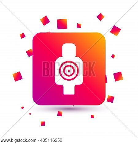 White Human Target Sport For Shooting Icon Isolated On White Background. Clean Target With Numbers F