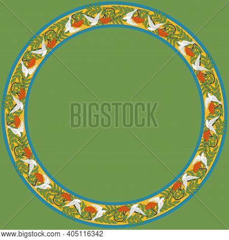 Vintage Round Frame With Rowanberry And Dove. Zoomorphic Ornament. Art Nouveau Style. Vector.