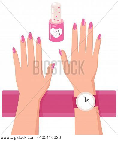 Pink Nail Polish And A Woman S Hands With A Painted Nails, Varnish Manicure Salon Accessory On White