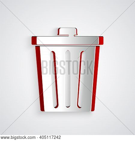 Paper Cut Trash Can Icon Isolated On Grey Background. Garbage Bin Sign. Recycle Basket Icon. Office