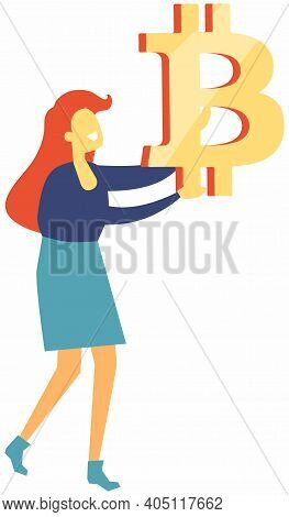 Woman Holding Bitcoin Sign In Hands Isolated On White. Innovative Payment Network And New Kind Of Mo