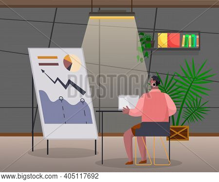 Woman Prepares A Progress Report. Female Character Sitting At A Table With A Laptop At A Later Time.