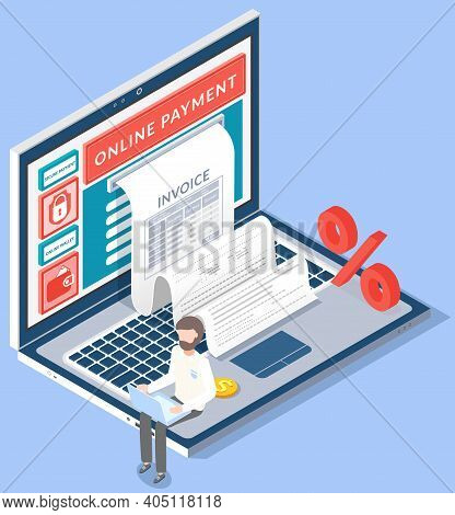 Concept Of Electronic Bill And Online Bank, Laptop With Check Tape. Payment By Means Of The Payments