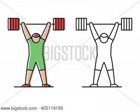 Weightlifting. Athlete Lifts The Barbell. Vector Icons In Flat Style