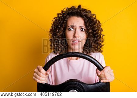 Photo Portrait Of Stressed Nervous Female Driver Keeping Steering Wheel Biting Lip Isolated On Vibra