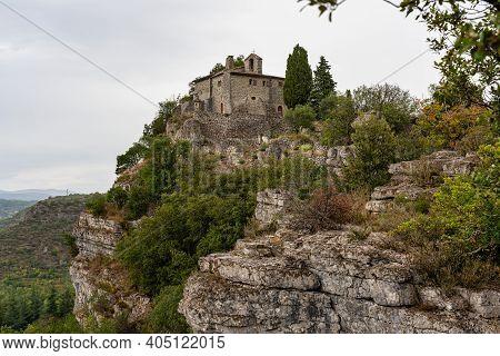 Chapel Saint-eugene De Chassagnes Near The Village Vallon Pont D'arc In Ardeche Mountains In France