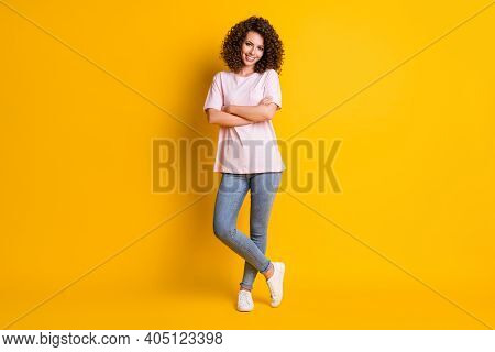 Full Body Portrait Of Young Confident Happy Smile Woman Crossed Hands Isolated Over Yellow Color Bac