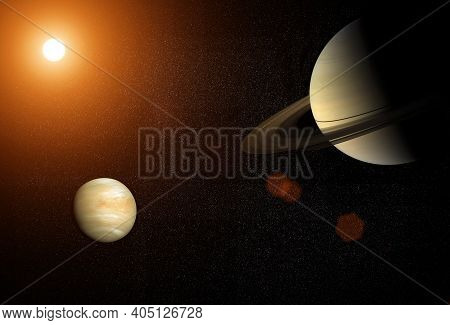 Great Conjunction: Venus And Saturn. Venus And Saturn Meet In The Space Solar System. Elements Of Th